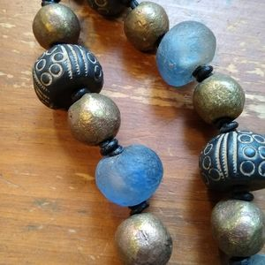 SandRhyme Necklace Glass Brass Clay Beads